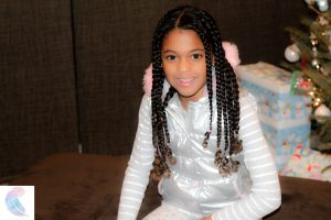 Full set of cornrow braids on 3c biracial hair