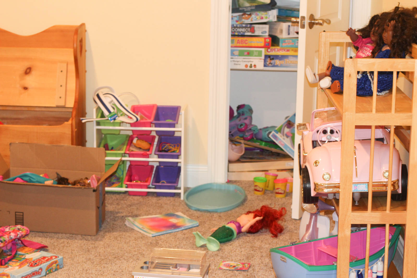 cluttered playroom