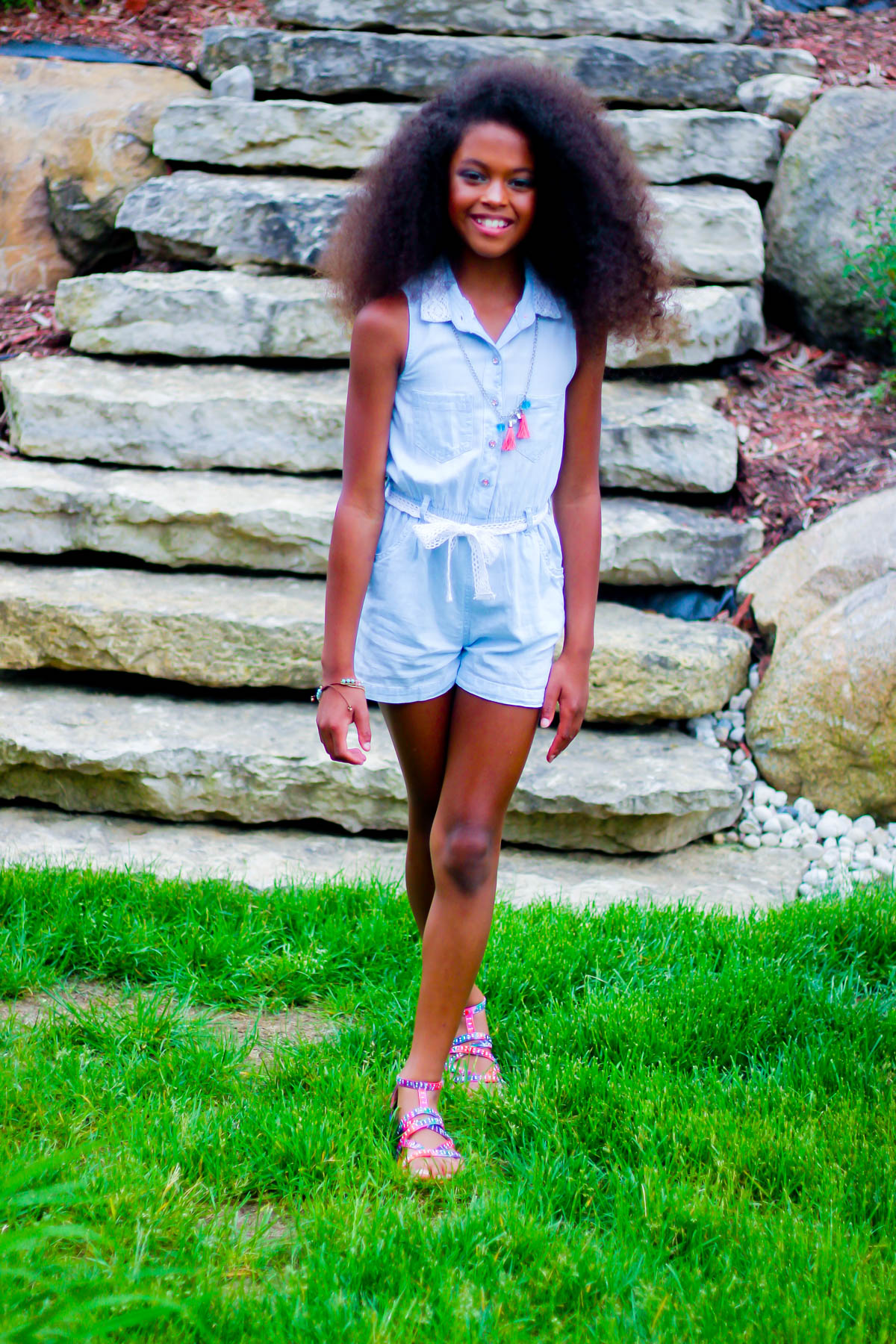 afro on young girl